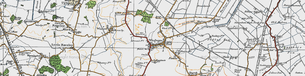 Old map of Warboys in 1920