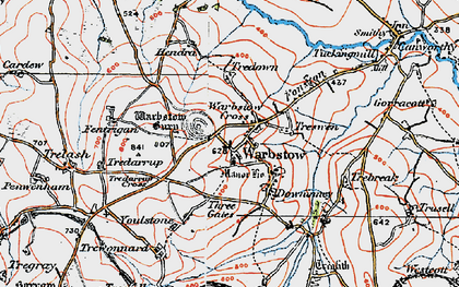 Old map of Warbstow Cross in 1919