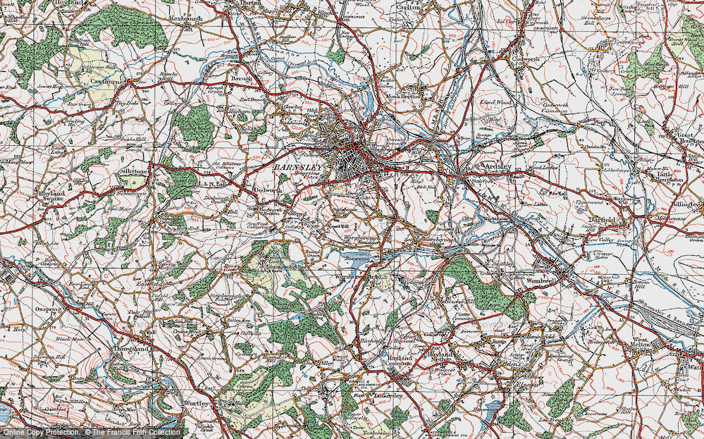 Old Map of Historic Map covering Worsbrough Country Park in 1924