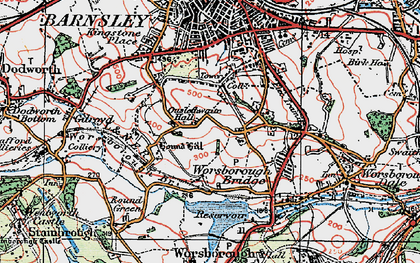 Old map of Worsbrough Resr in 1924