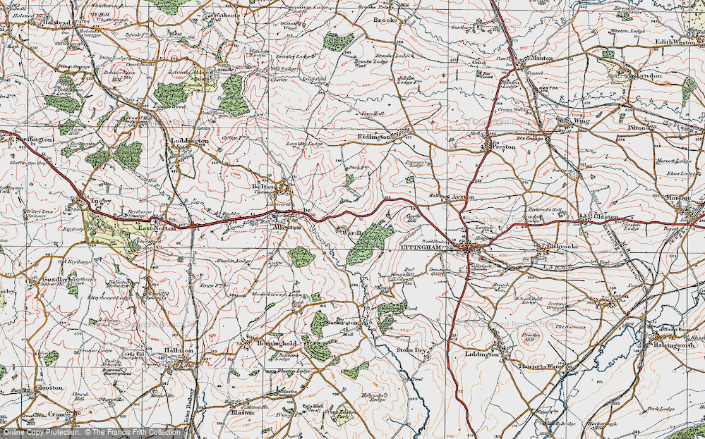 Old Map of Historic Map covering Allexton Wood in 1921