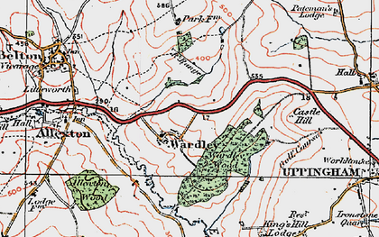 Old map of Allexton Wood in 1921