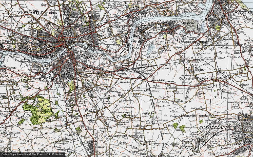 Old Map of Historic Map covering Leam Lane in 1925