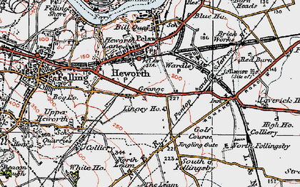 Old map of Leam Lane in 1925