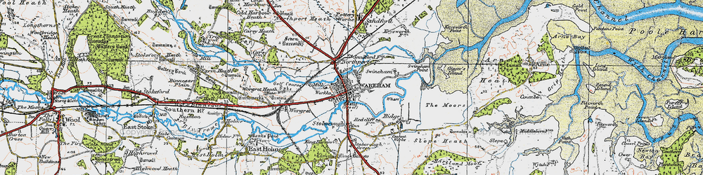 Old map of Wareham in 1919