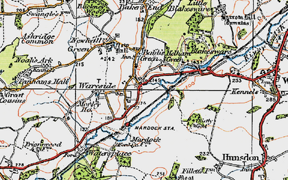 Old map of Wareside in 1919