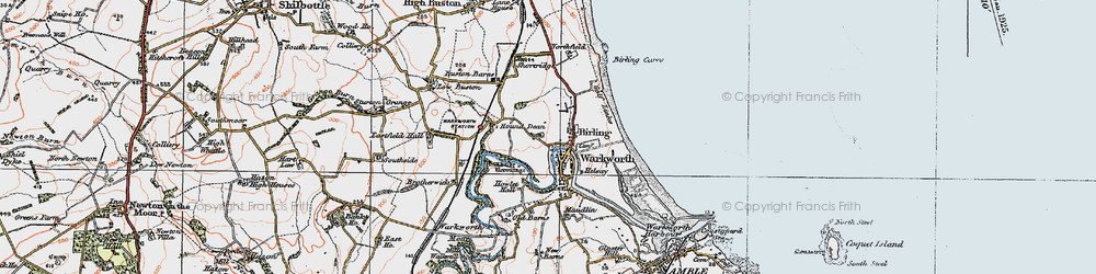 Old map of Warkworth in 1925