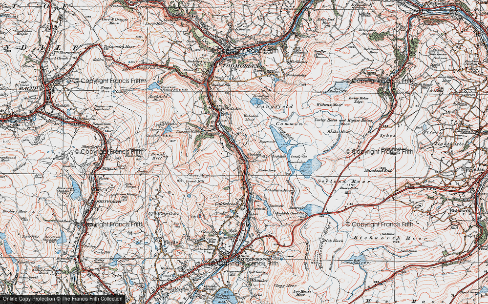 Old Map of Historic Map covering Allescholes in 1925