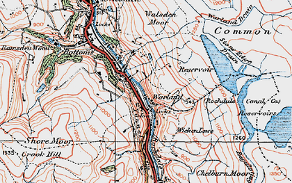 Old map of White Holme Resr in 1925