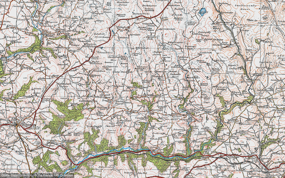 Old Map of Historic Map covering Letter Moor in 1919