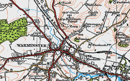 Old map of Warminster in 1919