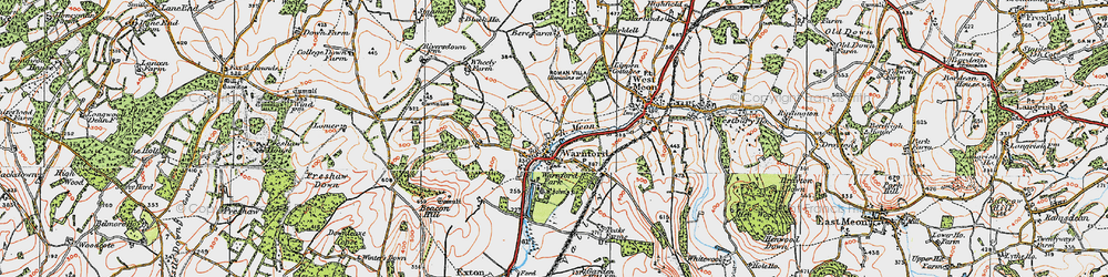 Old map of Wheely Down in 1919