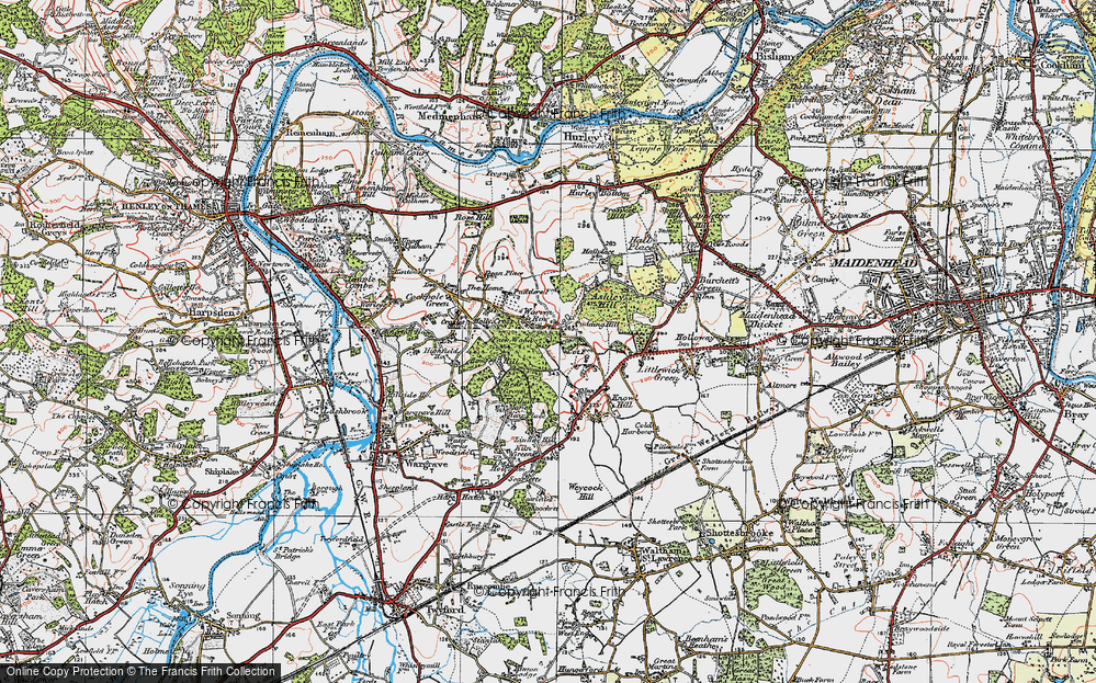 Old Map of Historic Map covering Ashley Hill Forest in 1919