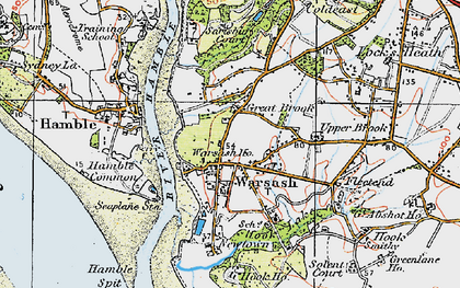 Old map of Warsash in 1919