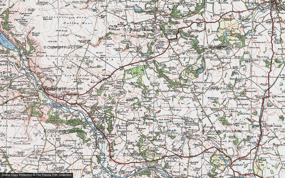 Old Map of Historic Map covering Brimham Rocks in 1925