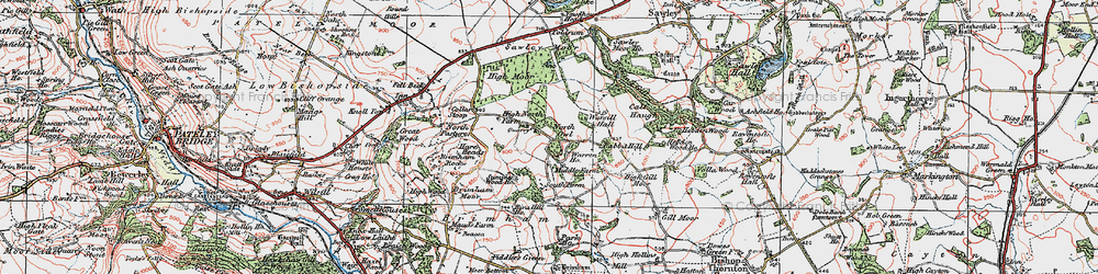 Old map of Brimham Rocks in 1925