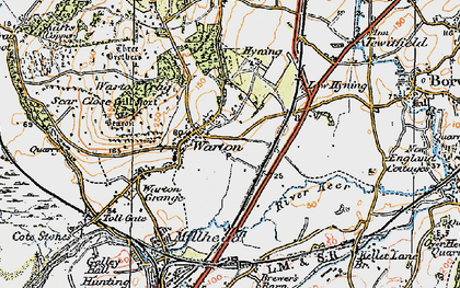 Old map of Warton in 1924