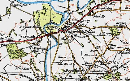 Old map of Warwick Bridge in 1925