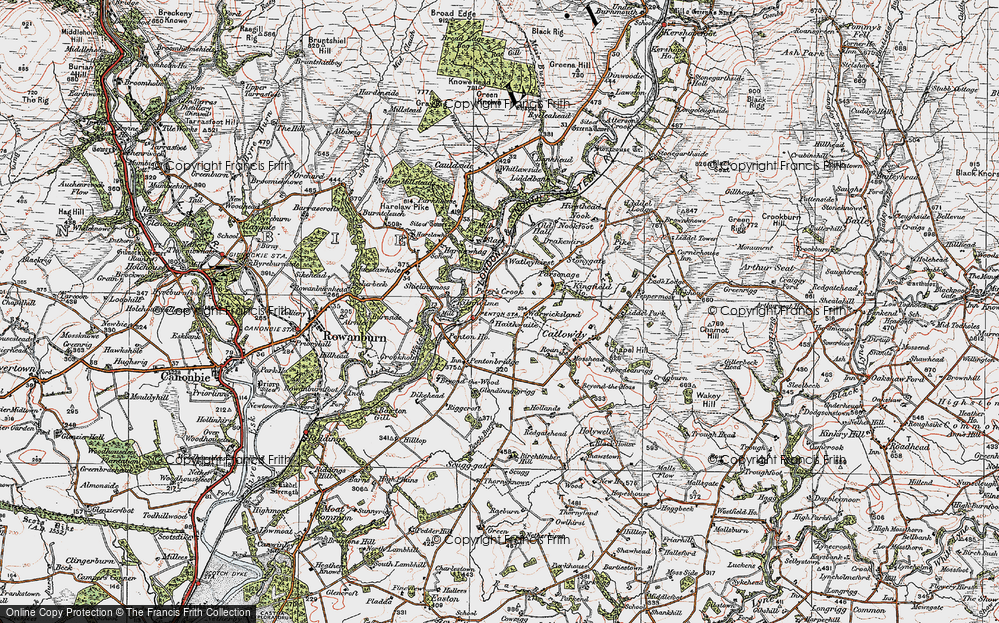 Old Map of Historic Map covering Liddel Water in 1925
