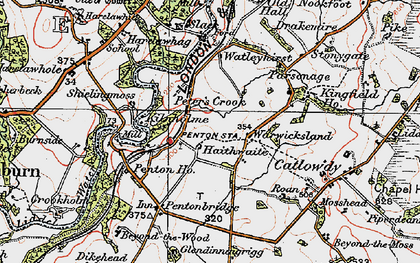 Old map of Liddel Water in 1925