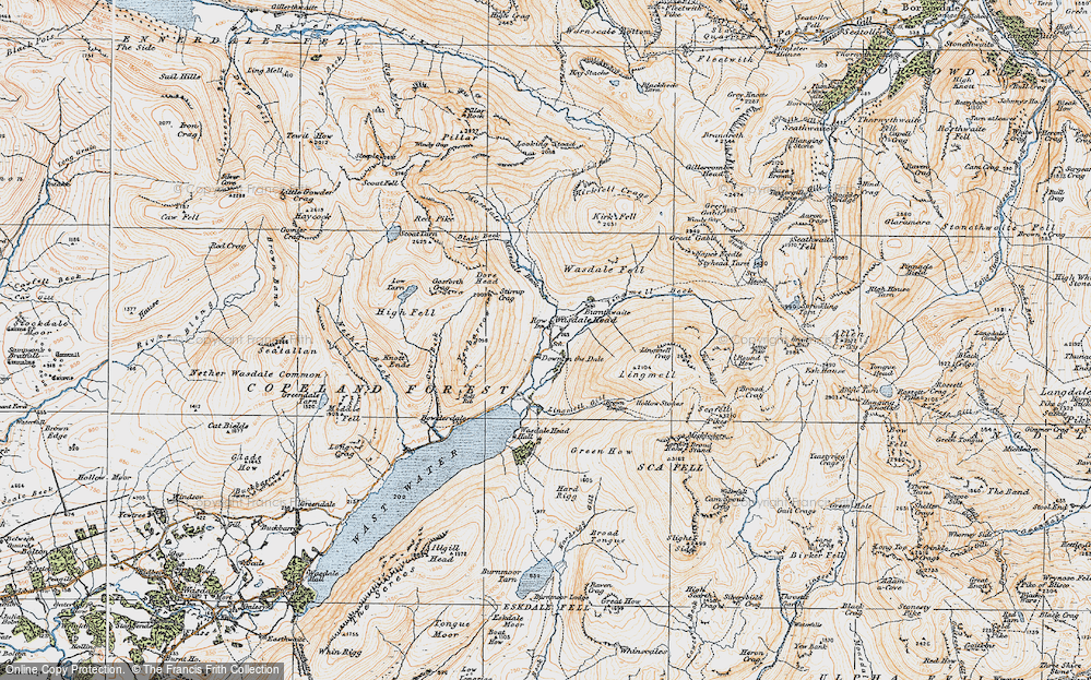 Old Map of Historic Map covering Lingmell Gill in 1925