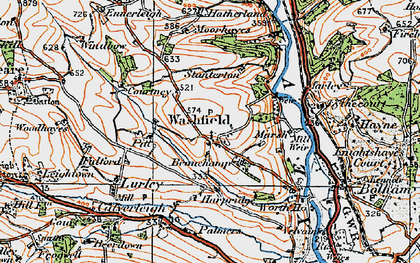 Old map of Washfield in 1919