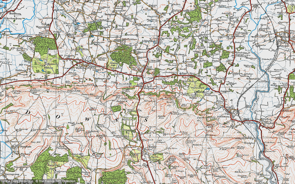 Old Map of Historic Map covering Chanctonbury Ring in 1920