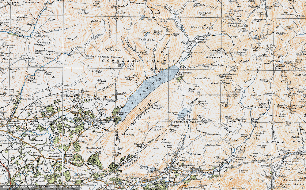 Old Map of Historic Map covering Tongue Moor in 1925