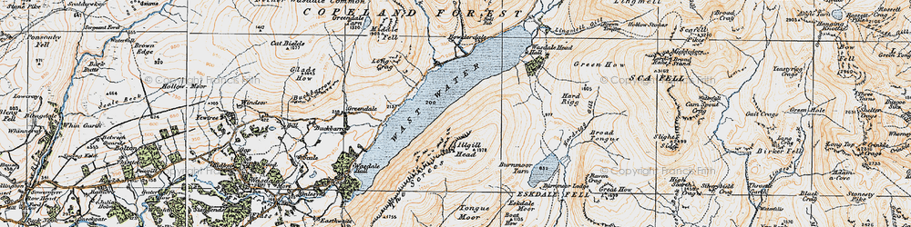 Old map of Whin Rigg in 1925