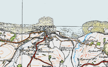 Old map of Watchet in 1919