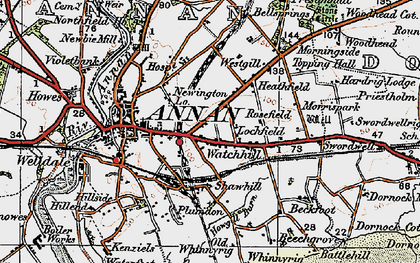 Old map of Whan Scar in 1925
