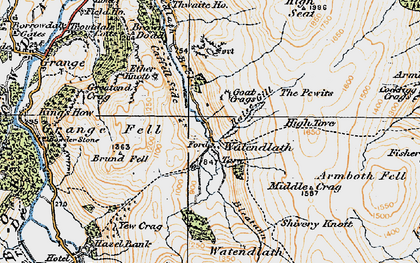 Old map of Ashness Fell in 1925