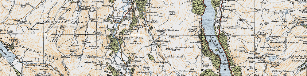 Old map of Launchy Gill in 1925