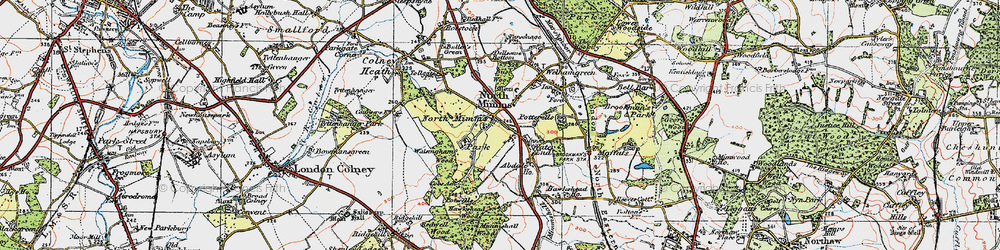 Old map of Water End in 1920