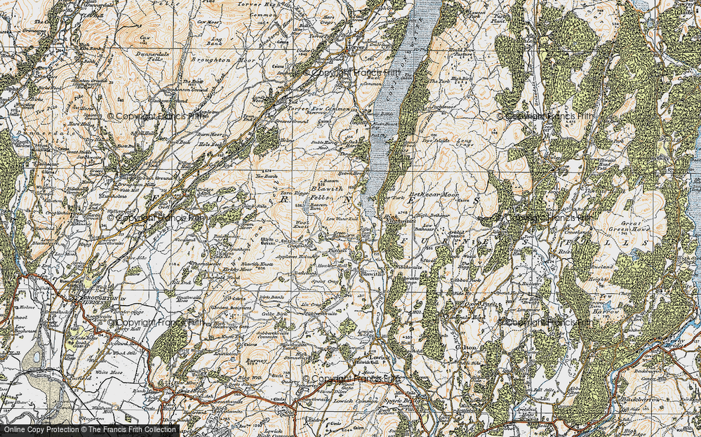 Old Map of Historic Map covering Wool Knott in 1925