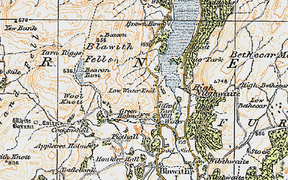 Old map of Wool Knott in 1925