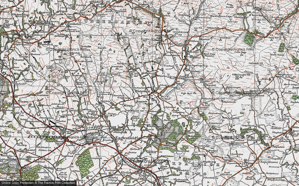 Old Map of Historic Map covering Albie in 1925