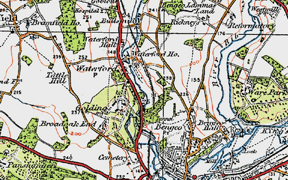 Old map of Waterford in 1919
