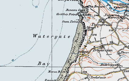 Old map of Watergate Bay in 1919