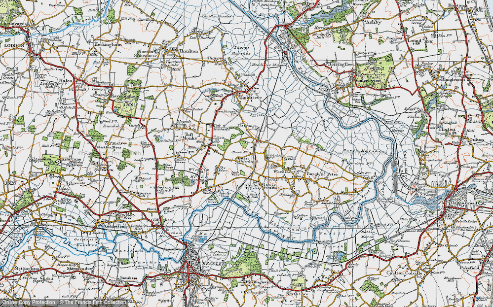 Old Map of Historic Map covering Toft Monks Ho in 1922