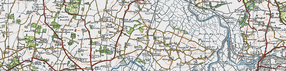 Old map of Toft Monks Ho in 1922