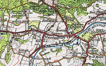 Old map of Wateringbury in 1920
