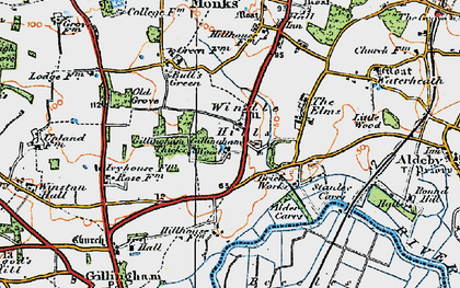 Old map of Alder Carrs in 1921