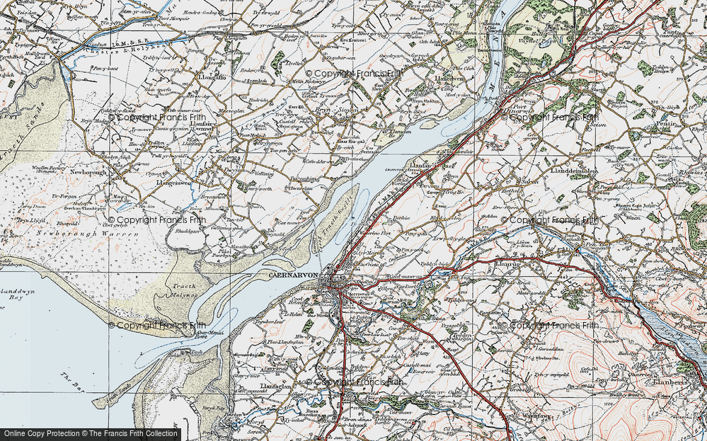 Old Map of Historic Map covering Afon Cadnant in 1922