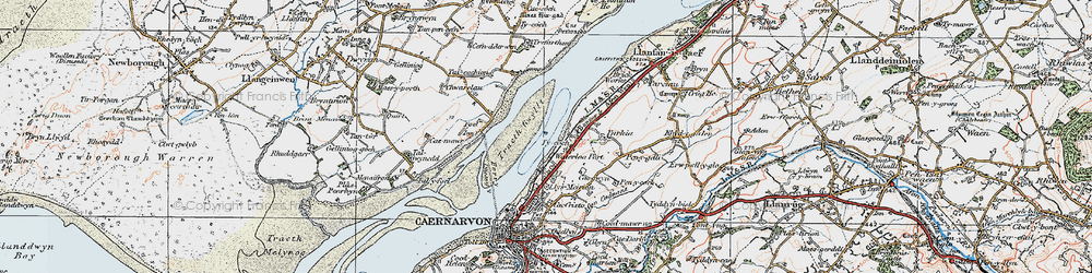 Old map of Afon Cadnant in 1922