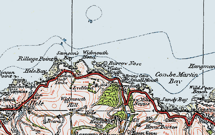 Old map of Widmouth Head in 1919