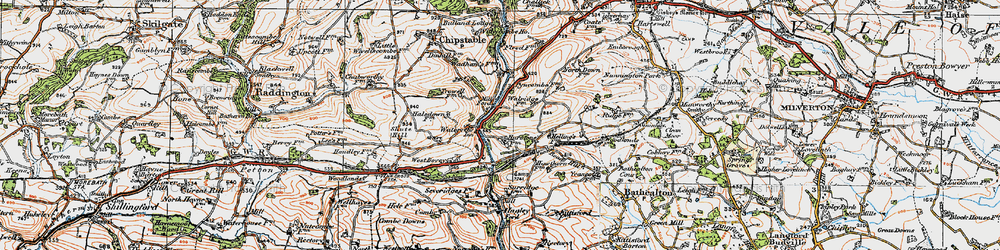 Old map of Waterrow in 1919