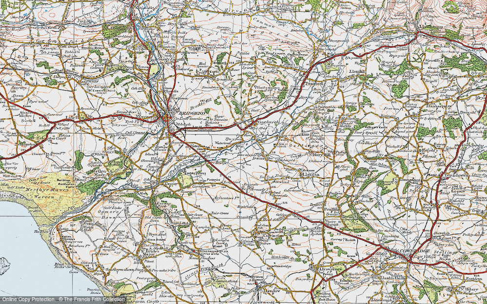 Old Map of Historic Map covering Brocastle in 1922