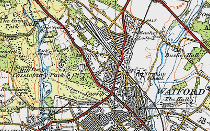 Old map of Watford in 1920