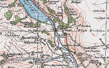 Old map of Yeadon Crag in 1925